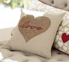Ordering this today! I admit it...I'm a holiday junkie! ;) Love Beaded Pillow | Pottery Barn