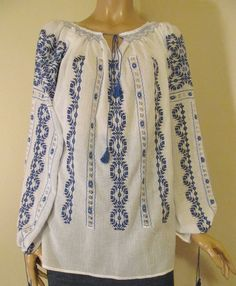 Hand embroidered Romanian blouse available at www.greatblouses.com Palestinian Embroidery, Folk Fashion, Folk Costume, Peasant Blouse, Long Blouse, Embroidered Blouse, European Fashion, Hand Embroidery, Eminem