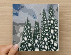 A Blue and Grey Day in Winter Art Greeting Card