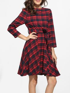 Bowknot Round Neck Dacron Plaid Printed Skater-dress Only $24.95 USD More info...