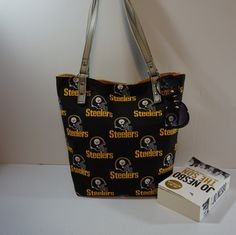 Pittsburgh Steelers NFL Black Tote Bag, Black Shoulder Bag, travel tote bag for woman, Christmas gift for her,game night tote bag by NuchyHandmade on Etsy