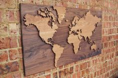 Wooden Worlds wall map World Map Wall, Wall Maps, Plywood Art, Wooden Map, See World, Travel Images, Scroll Saw, Map Art, Woodworking Projects