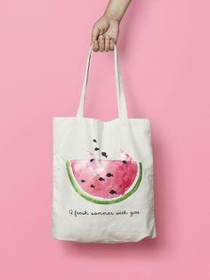 Tote bag Canvas Shopper Cotton bag with handmade watercolor Cactus Floral Tote Bags, Printed Tote Bags, Canvas Tote Bags, Painted Bags, Hand Painted, Nemo, Diy Tote Bag, Jute Bags, Fabric Bags
