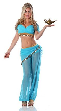Sexy Genie Halloween Costume - You'll make every man's wish come true when wearing this sexy belly dancer costume that includes a top, pants and scarf. Genie bottle not included. 55.95