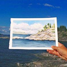 Artista completa paisagens com belas pinturas em aquarela