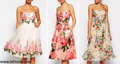 strapless bandeau midi skater dress prom dress with pockets in floral print chiffon organza and cotton