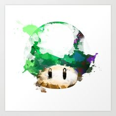 Watercolor 1UP Mushroom Art Print by Insomniac - $17.68