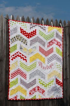 Boomerang Quilt - I like the way the child's name is added in the design | Crazy Old Ladies Quilts
