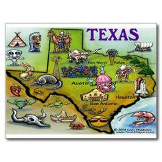 Shop TEXAS Cartoon Map Postcard created by FunGraphix. Austin Texas, Texas Gifts, Travel Maps, Custom Canvas, Buy Prints, Photo Postcards, Map Art, Postcard Size, Paper Texture