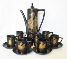 Portmeirion Black and Gold Phoenix Coffee Set for Six, Pristine Condition by TheWhistlingMan on Etsy