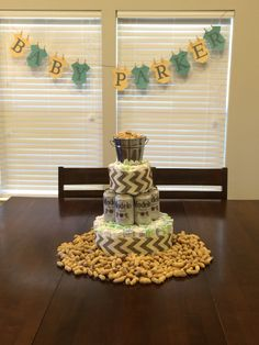 Boot BBQ & Beer Baby Shower Custom diaper cake made by http://www ...