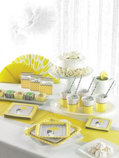 My Paper Shop.com - Mod Mom Baby Shower Party Supplies offer a fashionable and chic assortment of tableware that is ideal for celebrating the modern mommy. This stylish party collection showcases silhouettes of a mom to be holding an umbrella with bold circle patterns and stripes in soft shades of yellow and gray. Our contemporary baby shower supplies are printed on paper napkins, party plates, beverage cups, plastic tablecloths, table centerpieces, party invitations and more! Add an extra…