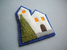 Harujion Design: Embroidery scandi chic contemporary christmas village or bethlehem tree decoration or card topper