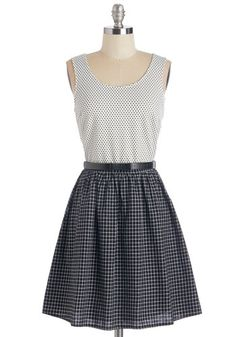 Case of the Checks Dress. Mix it up as you mingle in this delightful twofer dress! #black #modcloth