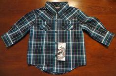 CINCH JEANS SHIRT L/S WESTERN COWBOY BLUE GREEN PLAID PRINT NWT BOYS 6-12 MONTHS www.baharanchwesternwear.com baha ranch western wear ebay seller id soloedition