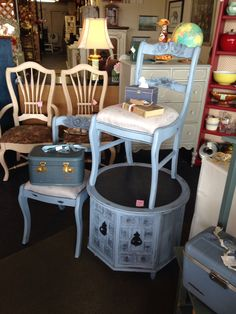 Fun little marching set - upscaled octagonal table and two refinished chairs.