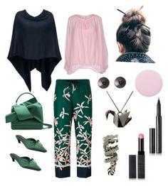 """Green in Japan"" by dtlpinn on Polyvore featuring Moncler, Diane Von Furstenberg, Deborah Lippmann, N°21, Origami Jewellery, Edge Only, Surratt and Elise Dray"