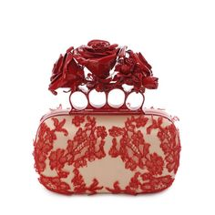 Embroidered Dishevelled Lace Knuckle Box Clutch