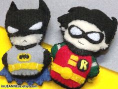 Batman & Robin inspired Finger Puppet / or Charm / or Plush / or Felt Pin / or Felt Magnet / from the Animated Series - MADE TO ORDER just added to my shop! :3 everything is handmade and made to order!