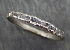Raw Rough Uncut Diamond Wedding Band 14k white Gold Diamond Wedding Ring byAngeline 0371
