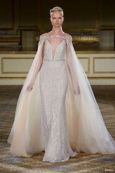 BERTA fall 2016 #bridal gowns sheath #wedding dress spagetti strap deep v neckline with tulle cape  #weddingdress #weddinggown