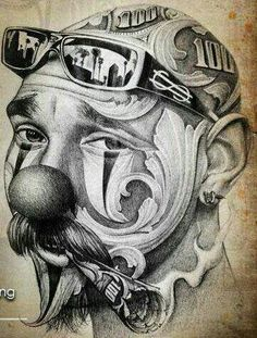 ♣️For more great pins go to Chicano Tattoos Sleeve, Chicano Style Tattoo, Chicano Tattoos Gangsters, Arte Cholo, Cholo Art, Chicanas Tattoo, Clown Tattoo, Inca Tattoo, Chicano Drawings