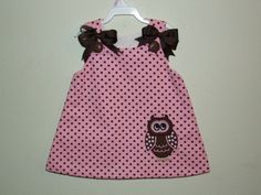 Pink/Brown Dot Aline Dress with Owl Applique-owl,dress,girl,birthday,outfit,clothes,clothing,aline,pink,dots,set