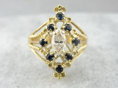 Vintage 14k Gold, Marquise Diamond and Sapphire Cocktail Ring 64X5N9-D