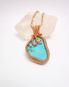 wire wrapped pendant-turquoise pendant-turquoise necklace-wire