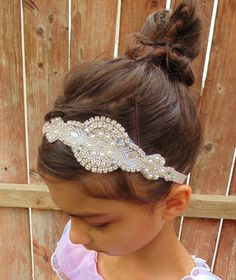 Flower Girl Headpiece, Rhinestone Headpiece, Pearl Headpiece, Bridal Headpiece, Baptism Headband on Etsy, $42.00