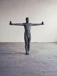 "Antony Gormley [UK] (b 1950) ~ ""WORK"", 1984. Lead, terracotta, fibreglass and air (195 x 192 x 30 cm). | #art #sculpture #figurative"