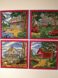 Vintage fabric squares  country scenes by KoopsKountryKalico, $3.99