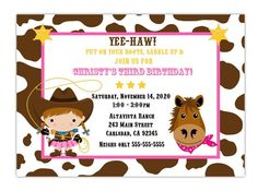 Custom Cowgirl Birthday Party Invitation Choose by CherishedTimes, $14.00