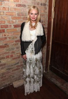 Kate Bosworth Kate Bosworth added a cozy bomber to give her femme maxi a wintry spin. Photo Credit: Getty Images (Courtesy of: FabSugar) via StyleList