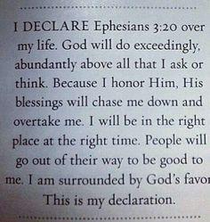I Declare God will do abundantly. Prayer Scriptures, Bible Prayers, Faith Prayer, God Prayer, Bible Verses, Faith Quotes, Bible Quotes, Inspirational Prayers, Morning Prayers