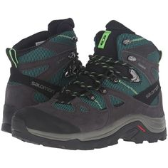 Salomon Discovery GTX (Asphalt/Veridian Green/Fresh Green) Women's... ($160) ❤ liked on Polyvore featuring shoes, athletic shoes, green athletic shoes, breathable shoes, hiking boots, lightweight waterproof shoes and suede hiking boots