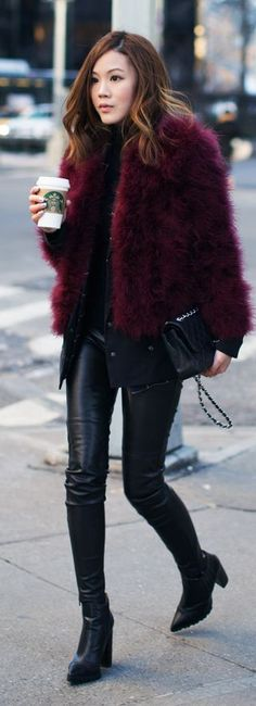 City Fashion & Style ❤ Black And Burgundy Winter Outfit by Tsangtastic.