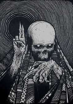 ┼Metal is my life!Page about metal,dark art,horror and other brutal things! Dark Fantasy Art, Art Épouvante, Art Noir, Satanic Art, Japon Illustration, Skull Illustration, Illustration Artists, Arte Obscura, Occult Art