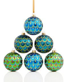 Holiday Lane Set of 6 Peacock Shatterproof Ornaments, Only at Macy's - Holiday Lane - For The Home - Macy's