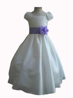 Ivory Taffetta Wedding Flower Girl Dress with Colorful Sash $26.50 Lots of sash colors