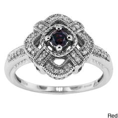 Silver 1/4ct TDW Diamond Vintage Cocktail Ring with Gift Box (H-I, I1-I2) | Overstock.com .... I would really like this hint hint brian!
