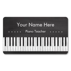 Elegant and Modern Chalkboard Piano Teacher Double-Sided Standard Business Cards (Pack Of 100)