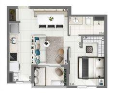 Planta - 40m² Studio Apartment Plan, Apartment Plans, Small Room Design, Tiny Apartments, Home And Deco, Small Spaces, House Plans, Floor Plans, House Design