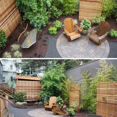 outdoor living area... use trellises to cover-up unsightly fence?
