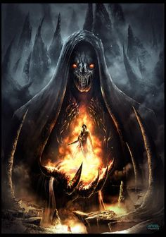 "Grim Reaper: The ~ ""Infierno la Mano de la Oscuridad"" (""Inferno or Hell the Hand of Darkness""), by Francisco Garces. Dark Fantasy Art, Fantasy Artwork, Grim Reaper Art, Don't Fear The Reaper, Dark Artwork, Skull Artwork, Arte Horror, Horror Art, Ange Demon"