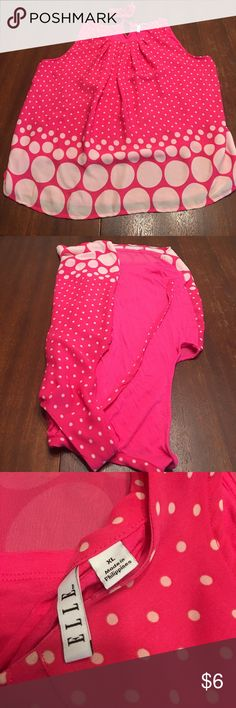 Polka dot tank Pink and off white in color. Front is a sheer material and back is a soft poly material. Ties at the neck in back, scoop neckline in front. Great dressy or casual. Elle Tops Tank Tops