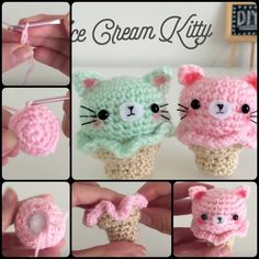 This post is going to show you how to Crochet Kitty Ice Cream Amigurumi. It is super easy to make, and would make a great addition to playfood collection.