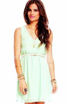 Tiana Chiffon Dress in Mint :: tobi