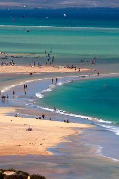 Sotavento beach, Fuerteventura island, Canary Islands, Spain.