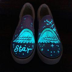 d6833f9d15574 Beautiful wings luminous galaxy canvas shoes Cute Kawaii Harajuku Fashion  Clothing   Accessories Website. Sponsorship